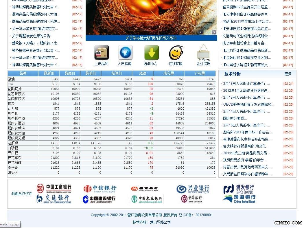 营口渤商投资有限公司网站建设案例展示